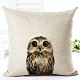 Animal wild boar owl fox panda bear and cat Pillow Case Cotton Blend Linen Cushion Cover Sofa Decorative Square 18 Inches family life (2)