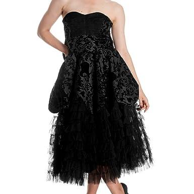 Hell Bunny Black Flock LA Vintage Prom Victorian Steam Punk Goth Dress 6-14