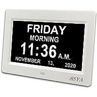 SSYA Digital Calendar Alarm Day Clock - 12 Alarm Options, Level 5 Auto Dimmable, Dementia Clocks for Vision Impaired…