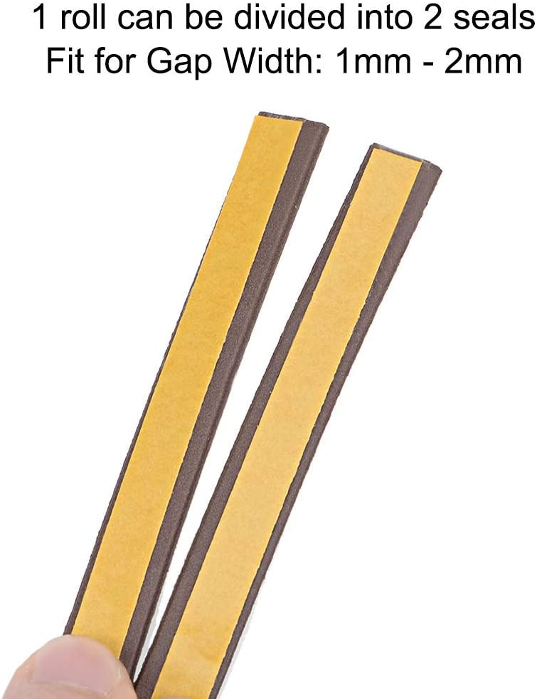 Foam Adhesive Weather Strips 9mm wide 2mm thick 2 pieces 2.5 meters long Brown