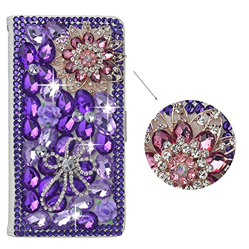Spritech(TM) PU Leather Wallet Case 3D Handmade Bling Purple Crystal Design Flower Butterfly Decorated Sim Folding Smartphone Protected White Cover with Card Slots For Sony Xperia Z1 L39h