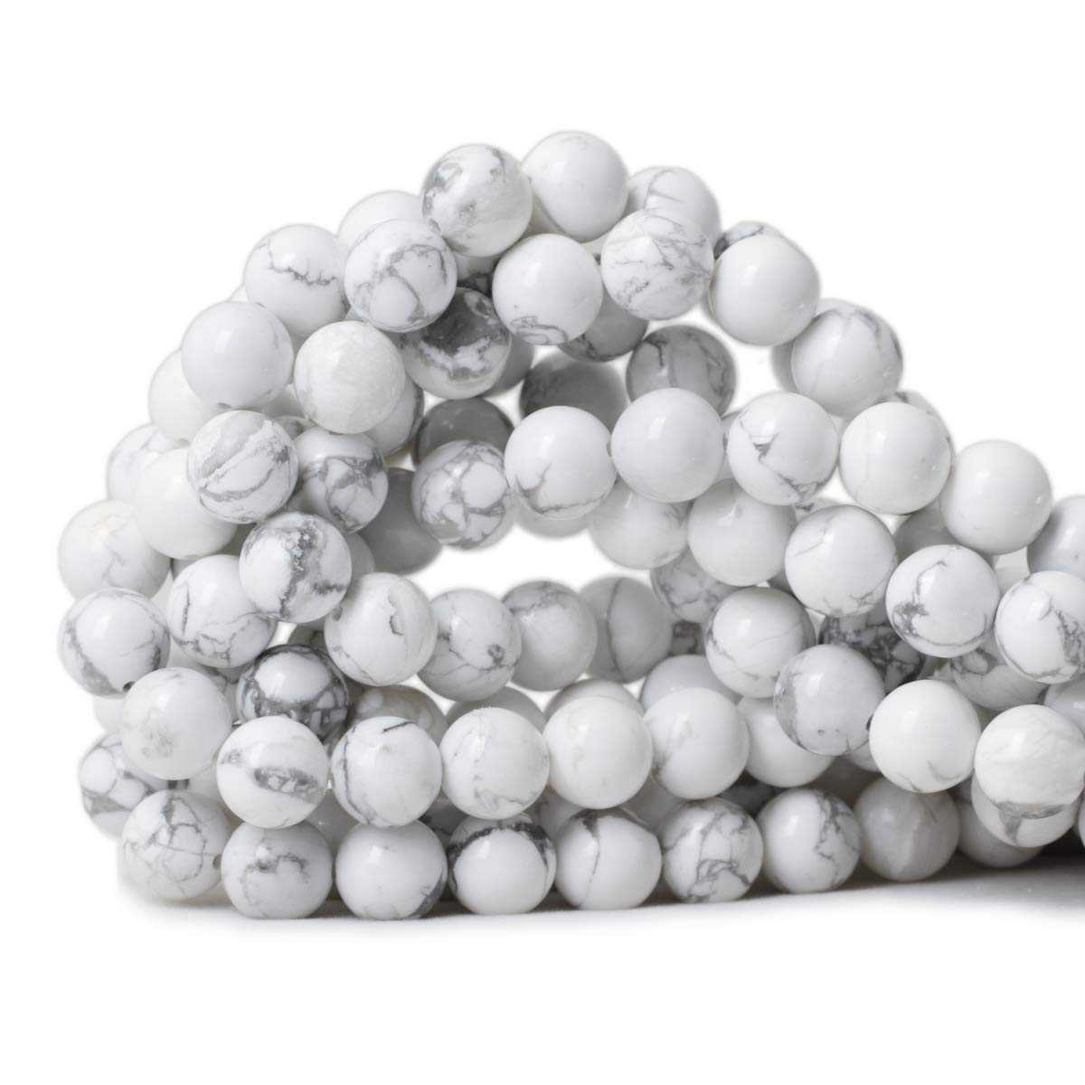 White Howlite Beads 10mm Qiwan 35PCS 10mm Natural African Turquoise Stone Round Loose Beads for Jewelry Making DIY Bracelet Making Supplies 1 Strand 15