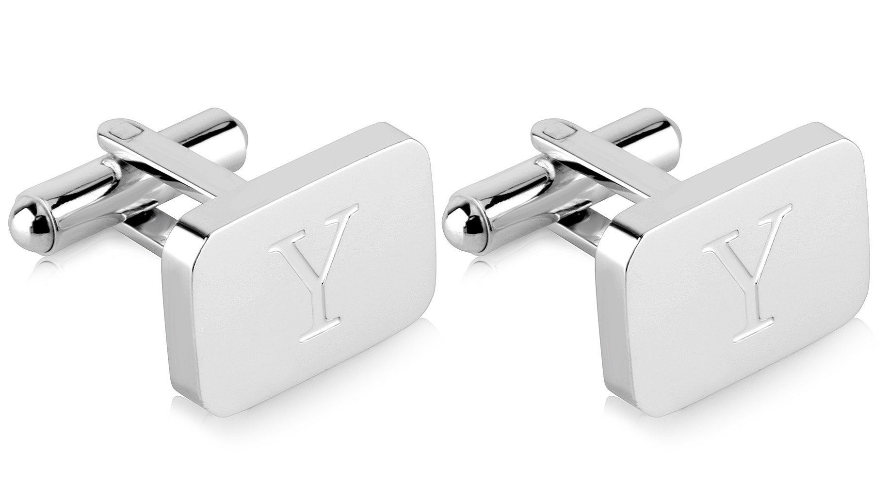 White-Gold Plated Monogram Initial Engraved Stainless Steel Man's Cufflinks With Gift Box -Personalized Alphabet Letter's By Lux & Pier (Y- White Gold)