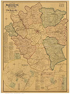 Madison County Kentucky 1876 - Wall Map with Homeowner Names - Old Map Reprint