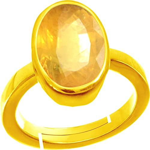 613e8712354f3 Buy 3.25 ratti Yellow Sapphire Oval Shape Gold Plated Metal Ring ...