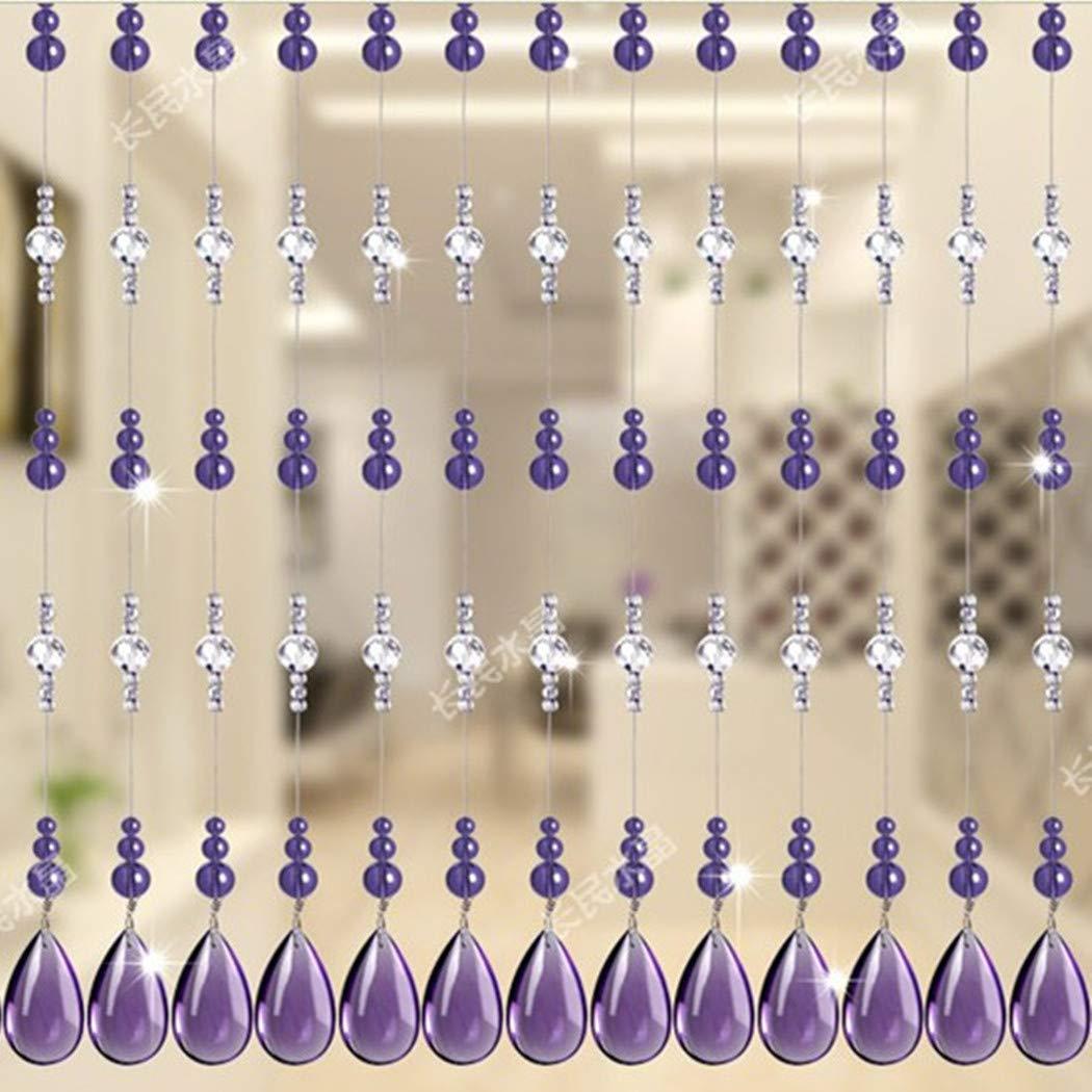 Violet 1M HYY Rideau de Porte en Perles de Cristal Acrylique Rideau de s/éparation Rideau de Porte Porte Porte Porte Porte Porte Porte Porte Chance Rideau Feng Shui Largeur 1m 20pcs Rail