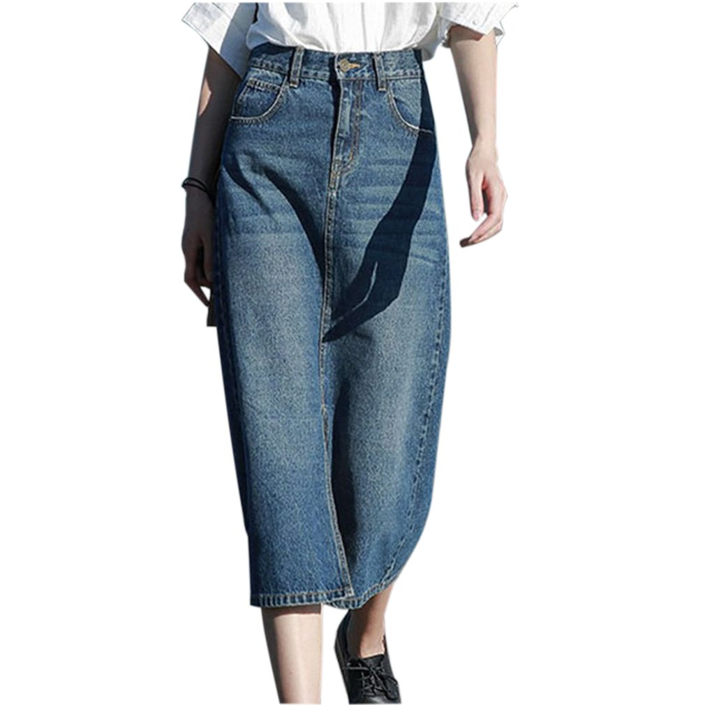 East Castle Women's High Waist Denim Skirt W-299 (US 8, Denim-3)