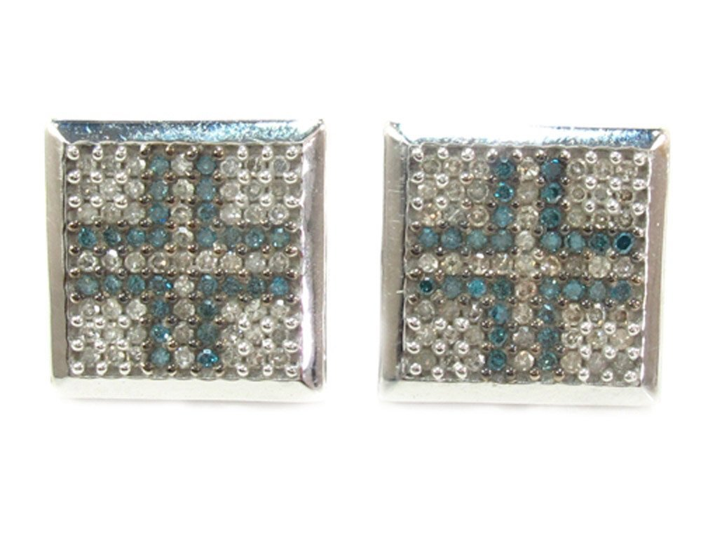 10K White Gold 1.00 cttw Round Cut Blue and White Diamond Square Stud Earrings with Screw Back