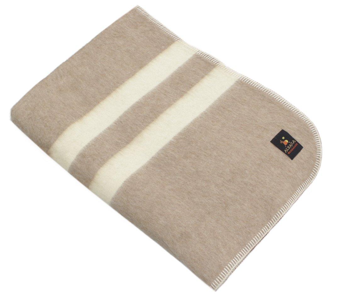 Thick Alpaca Wool Blanket (Queen, Beige - Ivory Stripes)