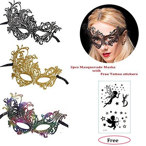 Masquerade Masks Lace Masks Halloween Mardi Gras Party Mask (Phoenix-3 Pack) ()