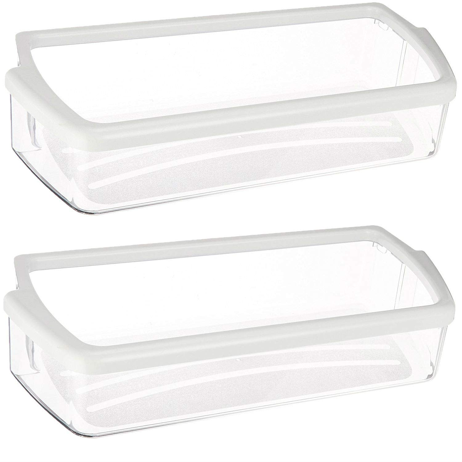 Kitchen Basics 101 W10321304 Replacement for Whirlpool Clear Door Bin with White Band on top 2 pack