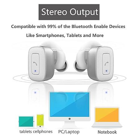 allimity Auriculares inalámbricos verdaderos inalámbricos Auriculares inalámbricos estéreo Bluetooth con micrófono para iPhone 7 iPhone 6s iPhone 6 iPhone ...
