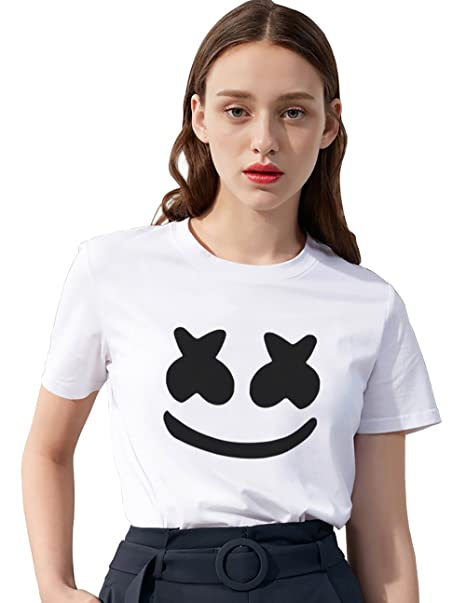 Camiseta DJ Helmet Marshmello 100% Algodón Shirt Smile Música Sonido Eléctrico T-Shirt Cara