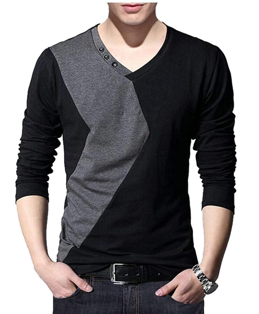 Alion Mens Cotton Contrast Color Long Sleeve V-Neck T-Shirts Tops Tee