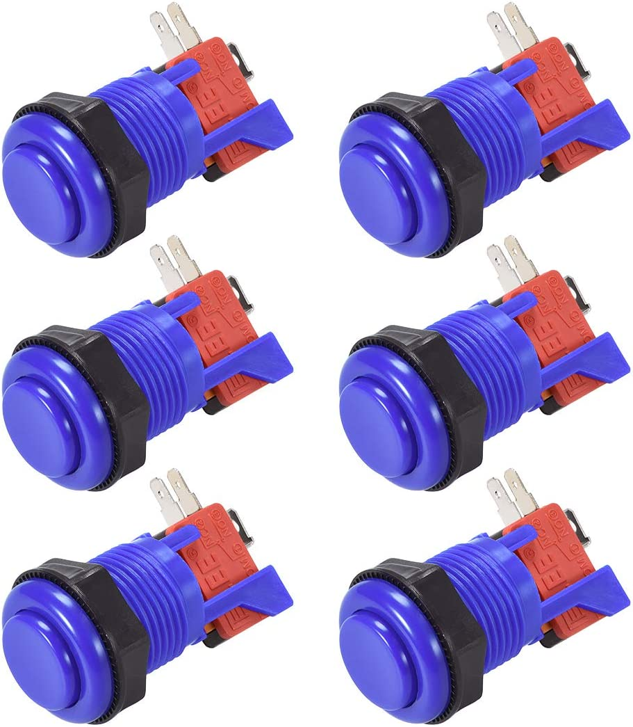 uxcell 27mm Mounting Hole Momentary Game Push Button Switch with Micro Switch for Arcade Video Games Blue 6pcs