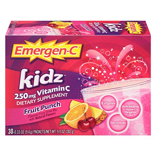 Emergen-C Kidz (30 Count, Fruit Punch Flavor, 1 Month Supply) Dietary Supplement Fizzy Drink Mix with 250mg Vitamin C, 0.33 Ounce Powder Packets, Caffeine Free