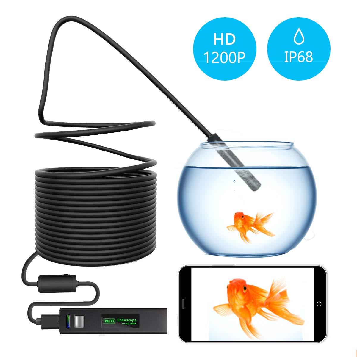 EFUTONPRO WiFi Cam/éra dinspection Semi-Rigide WiFi 1200P HD Serpent Camera endoscopique 8/lumi/ères LED iOS Smartphone Android Tablette