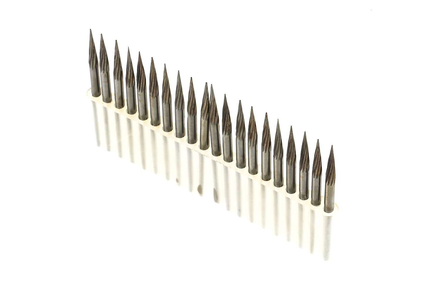 20Pcs Single Cut Conical Point Carbide Rotary Burr Bits Set 1/8'' Shank For Die Grinder