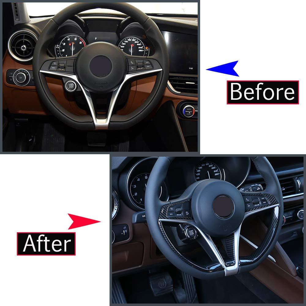 confezione da 6 DIYUCAR Adesivi in fibra di carbonio ABS decorazione volante auto Trim per Giulia Stelvio 2017-2019