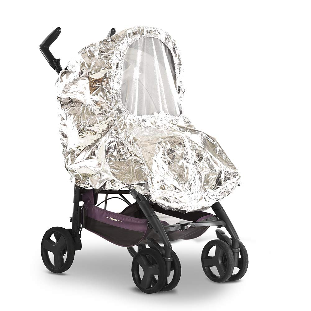 SilverCoat is a Heat Blocking and Sun Reflective All-Weather Cover for The Baby Stroller Body which Reduces in Half The Heat Inside it. Also it's a Waterproof dustproof Snowproof Baby Stroller Cover. by SilverCoat