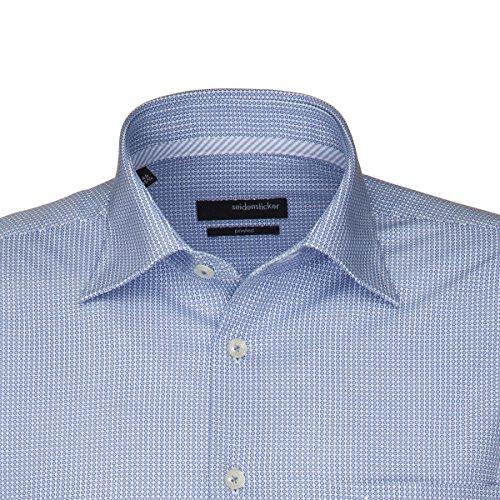 Seidensticker Herren Langarm Hemd Splendesto Regular Fit blau / weiß gepunktet 187616.13