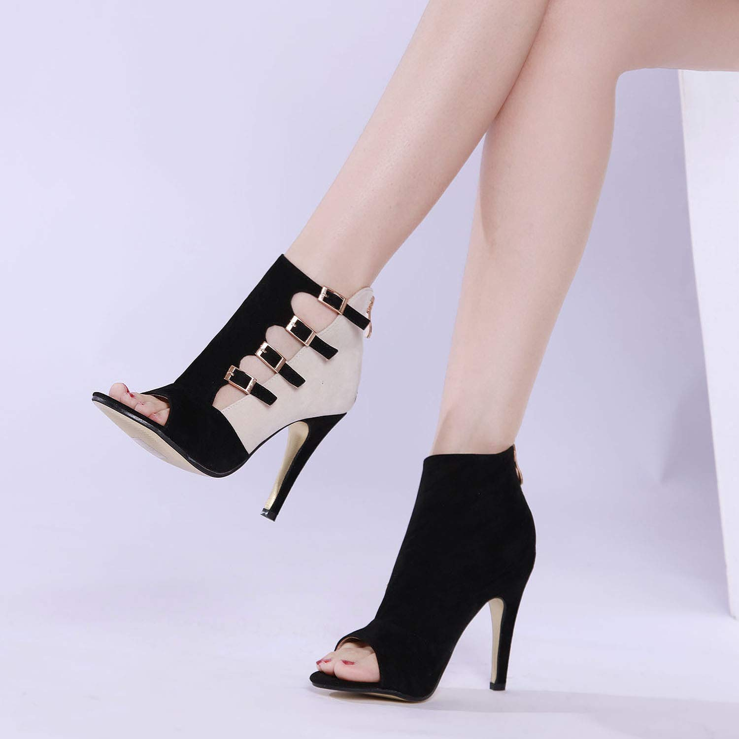 14b72b6922 Amazon.com | GATUXUS Open Toe Women Platform High Heel Shoes Buckle Pump  Boots for Party Prom | Pumps