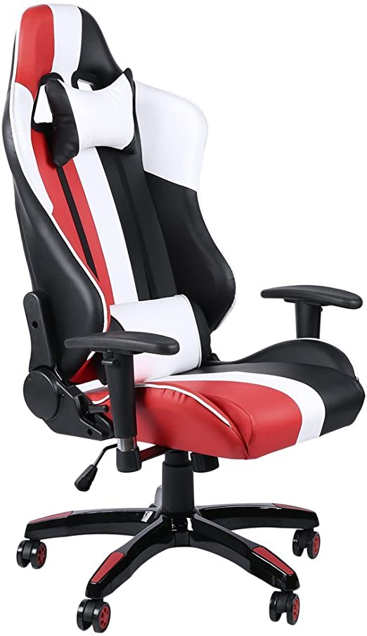 Racing Gaming Chair Office Computer Executive Recliner Adjustable w//Footrest Red