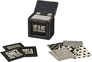 Primitives by Kathy Classic Black and White Home Décor Hinged Box, Words of Wisdom