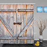 American Rustic Country Style old Wooden Garage Barn Door Decorative Polyester Shower Curtain 60x72 Inch