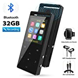 MP3 Player, 32GB MP3 Players with Bluetooth, Hi-Fi Lossless Sound Music Player with FM Radio, Voice Recorder, Pedometer, Expandable up to 128GB TF Card, with Armband and Earphone, Black (Color: 1 32Gblack)