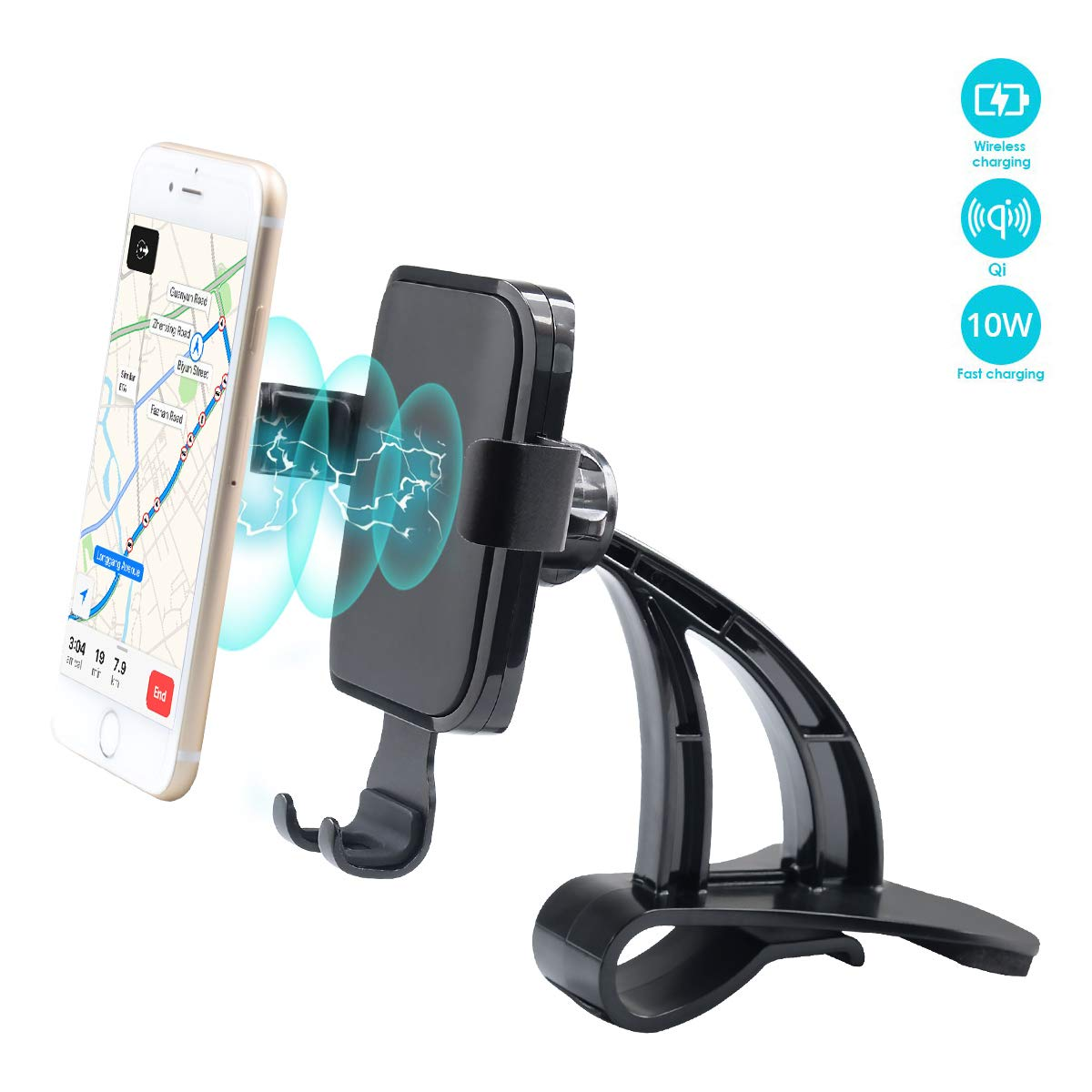 WJM Wireless Charging Cell Phone Stand for Tesla Model 3 Wireless Charger Car Mount Gravity Mobile Holder with Stable Clip Base Compatible with All Smart Phones up to 6.5''