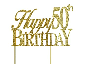 All About Details Gold Happy 50th Birthday Cake Topper