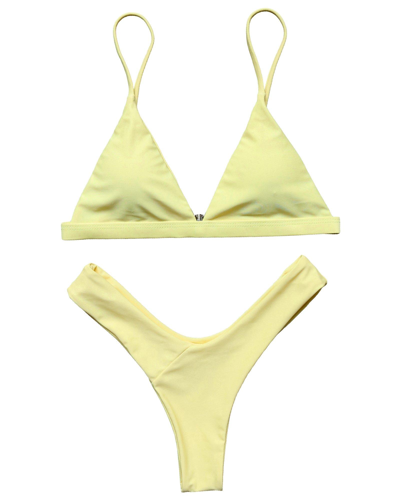 LEESMILE Women 2 Piece Brazilian Top V Style Bottom Bikini Set Spaghetti Strap Swimsuit(S (US Size 2-4),Yellow)