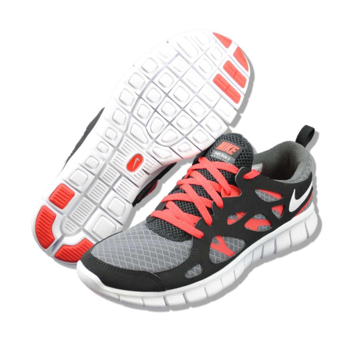 design de qualité 33bf5 26bd2 NIKE Free Run 2.0 GS Dark Grey Black Youth Barefoot Running Shoes 443742-011