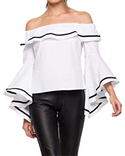 ea67c8a599 SIMSHION Women s Summer Off Shoulder Trumpet Sleeve Ruffled Collar Casual Blouse  Tops Shirts