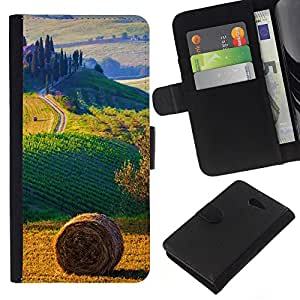 KLONGSHOP // Tirón de la caja Cartera de cuero con ranuras para tarjetas - campo paisaje italia - Sony Xperia M2 //