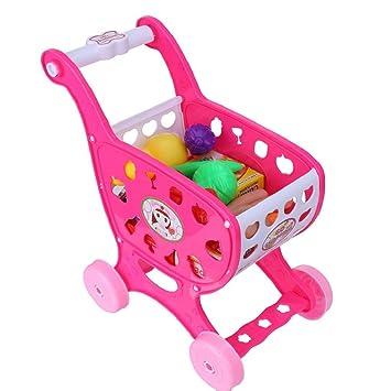 QUICKLYLY Carrito Compras De Juguete,Juguetes Cortar Frutas Verduras Juego de Plástico para Niños Juguetes de Alimentos de Corte Juguete del Bebé (Rosa): ...