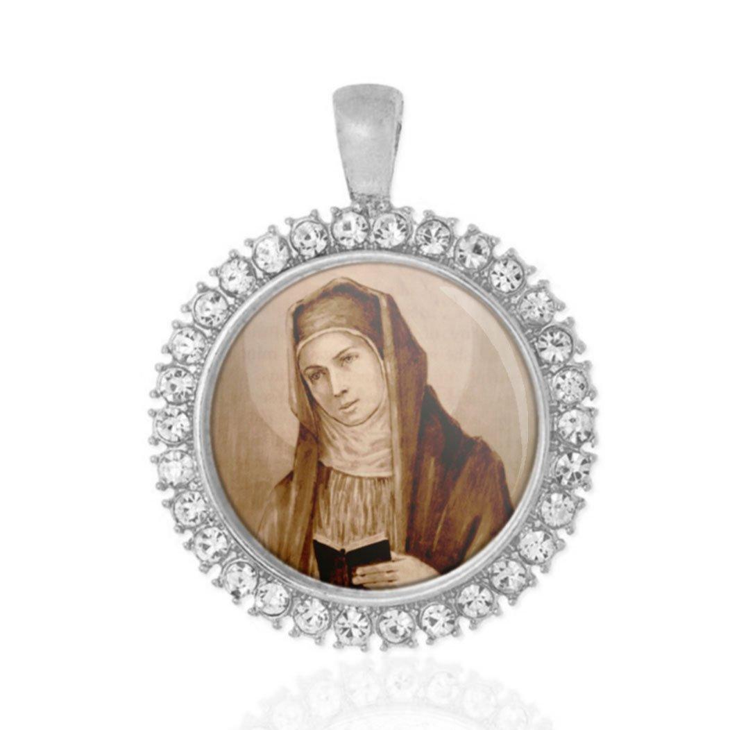 St Monica Religious Round Medal Silver Tone Pendant with Rhinestones