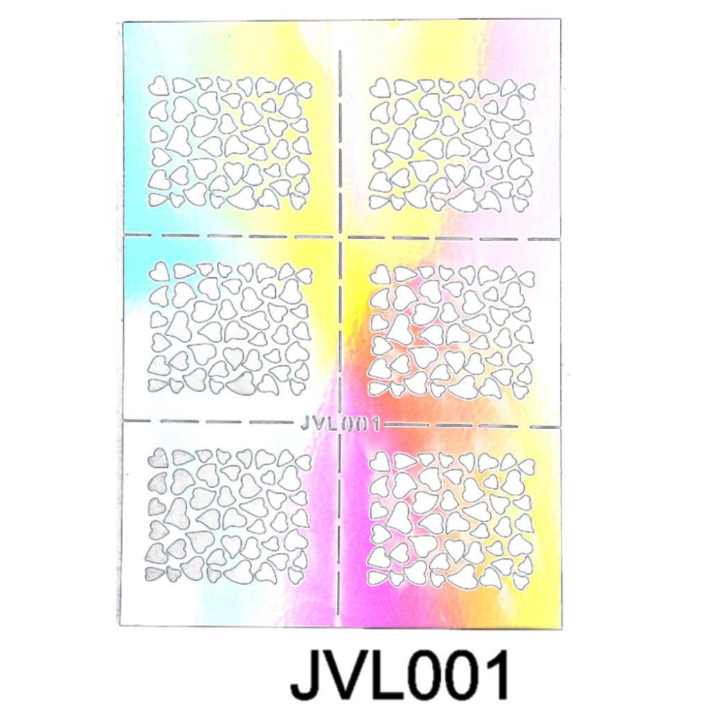 Voberry 1PC Hollow Nail Art Stickers Decals Stamping DIY Decoration Tools (A)