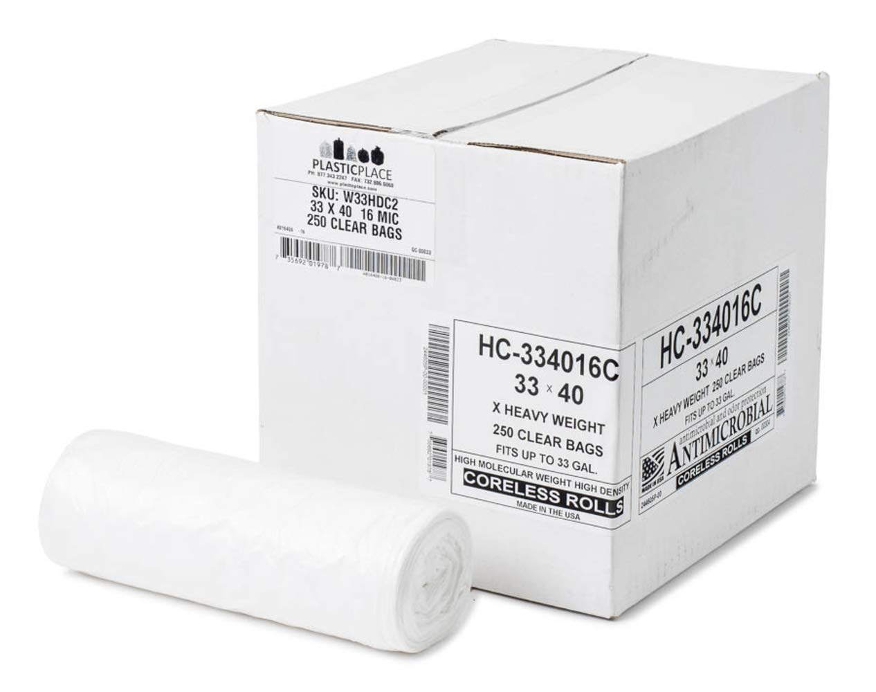 Plasticplace 33 Gallon Trash Bags, Clear, High Density 33'' X 40'' 250/Case 16 Microns by Plasticplace
