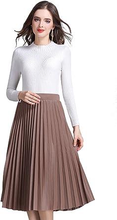 BININBOX Falda Plisada De Otoño Invierno para Mujer Falda Corte En ...