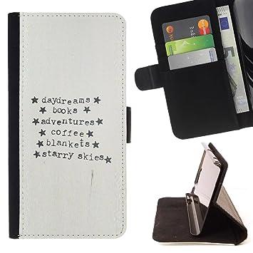 For Sony Xperia Z1 L39 Case , Máquina de escribir Papel Aventura Estrellas texto- la tarjeta de Crédito Slots PU Funda de cuero Monedero caso cubierta de ...