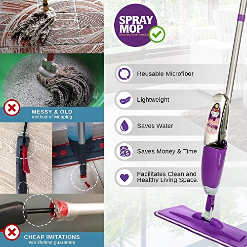 Vorfreude – Floor Mop with Integrated Spray and – Included Refillable 700Ml Capacity Bottle and Reusable Microfibre Pad - 8