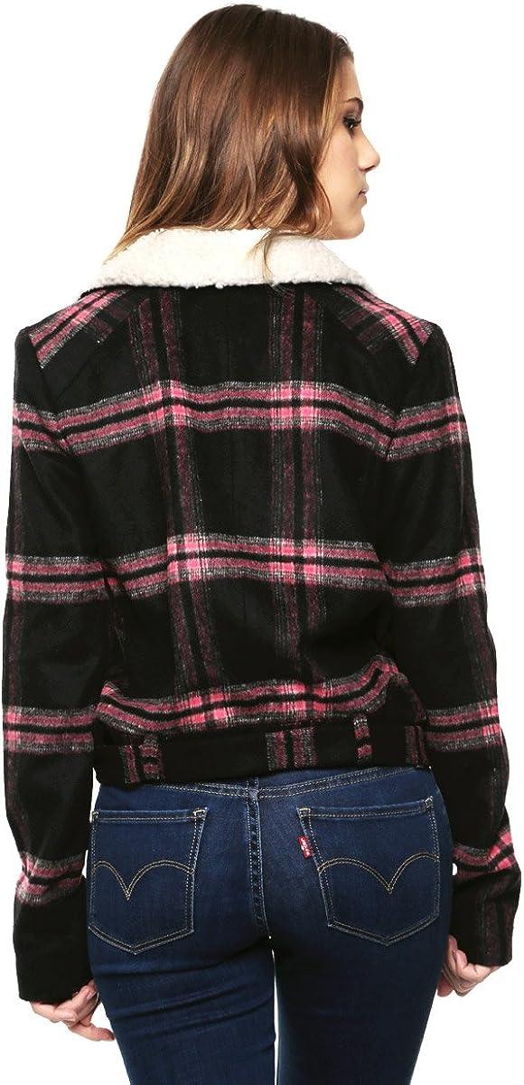 GUESS Womens Long Sleeve Plaid Abbot Jacket