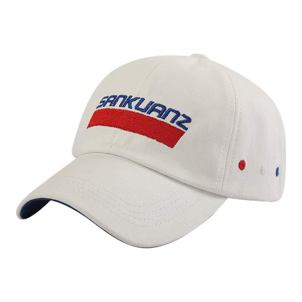 Tanlo 2019 Summer Unisex Ponytail Messy Buns Trucker Plain Baseball Visor Cap Dad Hats (White, 55-60cm (Adjustable).)