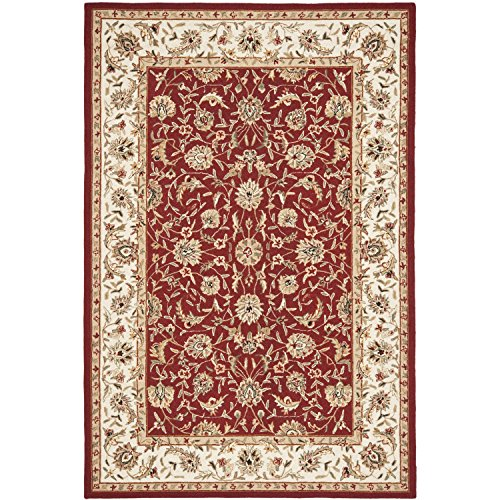 Safavieh Chelsea Collection HK78B Hand-Hooked Burgundy and Ivory Premium Wool Area Rug (6' x (Wool Area Accent)