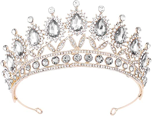 6.6cm High Stars Crystal Silver White Tiara Wedding Party Pageant Prom Crown