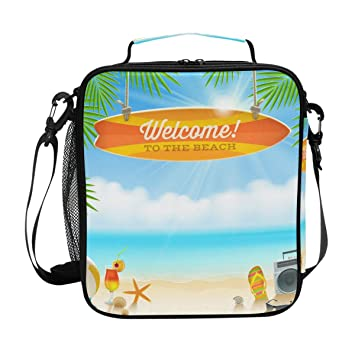JSTEL Bolsa de almuerzo para playa y tabla de surf antigua con bolsa de mano de