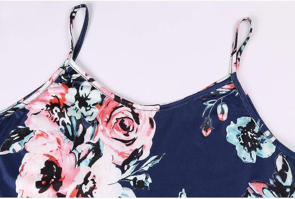 BESSKY Femme Robe Ete Imprim/é Fleur De Poche D/éContract/é