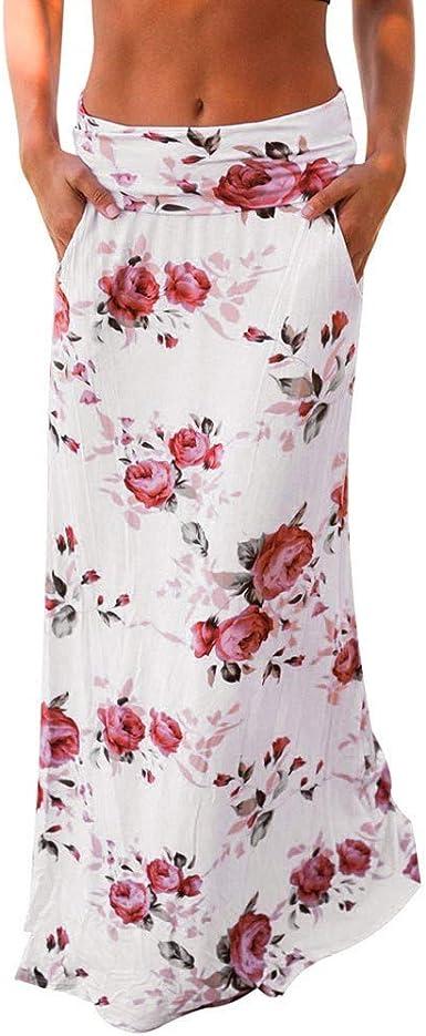 Alaso - Falda para Mujer, Estampado Floral, Falda Larga ...